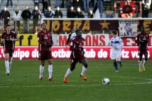 Metz - Bastia, 19e journée de Ligue 2  : Oumar Pouye, épaulé par David Fleurival, Yohan Betsch et Kalidou Koulibay, part à l\'assaut du but corse, sans succès malheureusement.