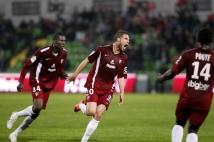 Metz-Angers, 34° journée de Ligue 2  : Pierre Bouby éclate de joie après son égalisation.